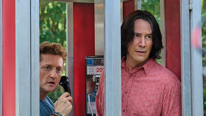 "(L-R) Alex Winter and Keanu Reeves star in ""Bill & Ted Face the Music."" The film was released simultaneously to theaters and streaming rental on August 28, 2020."