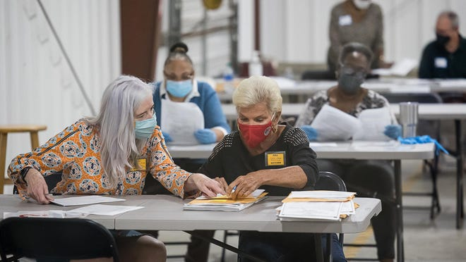 Chatham County poll workers count each ballot by hand Friday at the Chatham County Board of Elections anex.