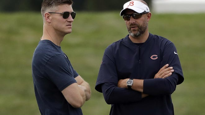 Chicago Bears head coach Matt Nagy, right, talks with general manager Ryan Pace during a training camp in Bourbonnais on Friday, July 26, 2019.