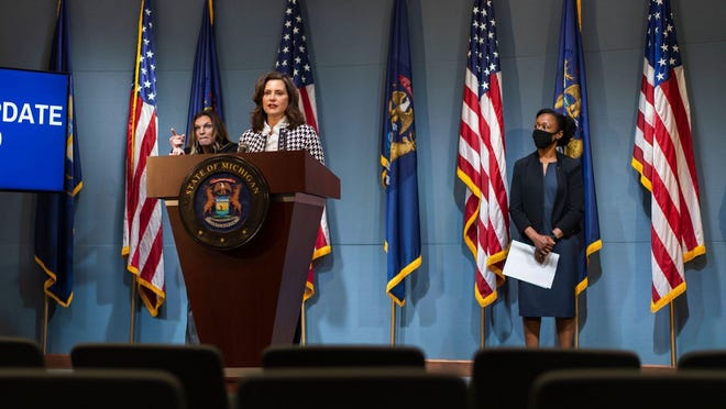 Gov. Gretchen Whitmer speaks during a coronavirus briefing in Lansing on Tuesday, May 26. On Monday, June 15, Michigan health officials announced that long-term care facilities and nursing homes in Michigan would be required to conduct weekly COVID-19 testing for residents and staff.