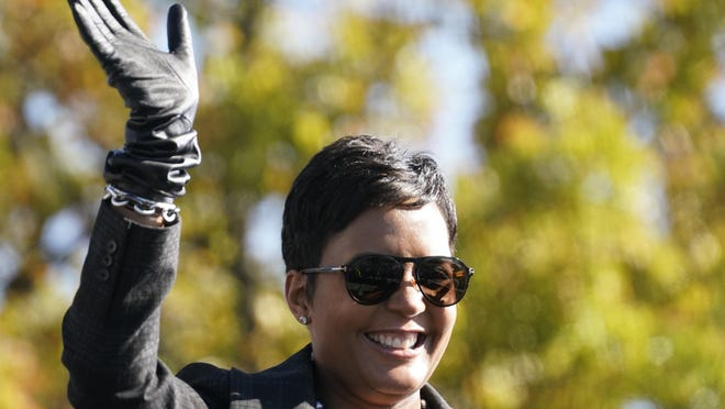 Atlanta Mayor Keisha Lance Bottoms speaks to Biden supporters as they wait for former President Barack Obama to arrive and speak at a rally as he campaigns for Democratic presidential candidate former Vice President Joe Biden, Monday, Nov. 2, 2020, at Turner Field in Atlanta.