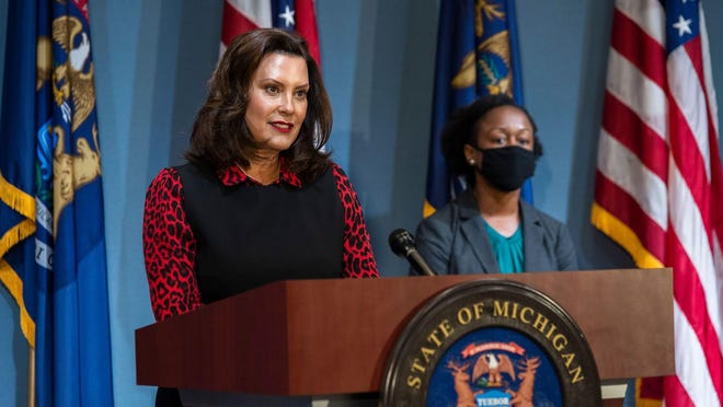 Michigan Gov. Gretchen Whitmer speaks during a coronavirus briefing in Lansing on Tuesday, June 30. On Thursday, July 9, Whitmer and other state officials highlighted increasing COVID-19 cases in Michigan.