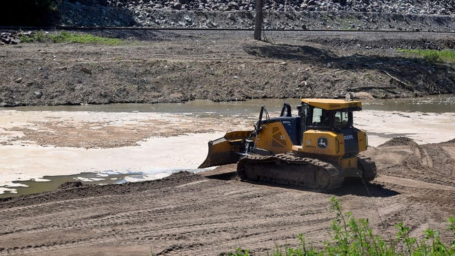Repair work continues for a levee that serves property in Leavenworth County owned by the Kansas Department of Corrections as well as private property. This is one of the levees in the county under repair.