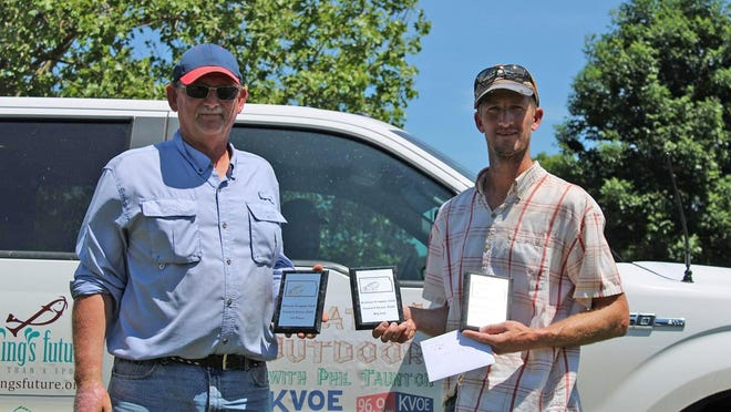 Lane Peterson, right, and Vince Coats won the Kansas Crappie Club's Division I tournament June 7 at Council Grove Reservoir with 9.4 pounds.
