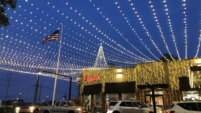 This undated photo from November 2020 shows the Christmas lights at the Atlanta Highway Chick Fil-A location in Athens, Georgia.