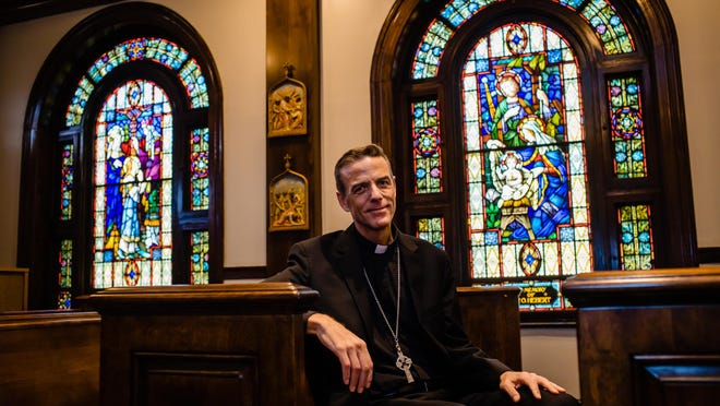 Bishop-elect Stephen Parkes sits in the St. Mary's Chapel at the Catholic Pastoral Center for the Diocese of Savannah.