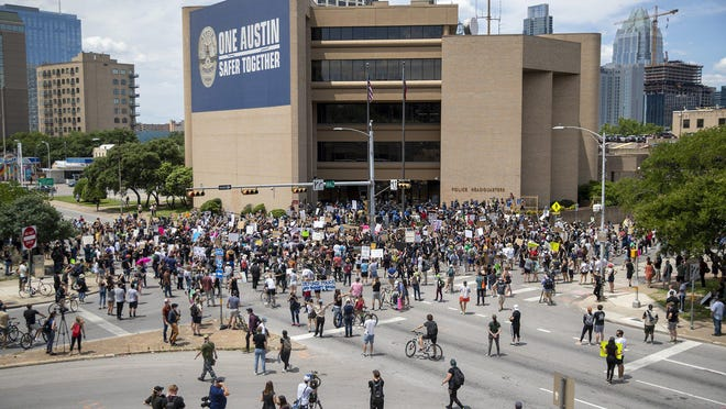 Protesters gathered in front of Austin police headquarters May 30 after the killing of George Floyd, Breonna Taylor and Michael Ramos.