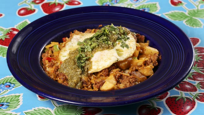 A plate of chorizo hash is shown in this promotional image from Flying Biscuit Cafe. The Atlanta-based franchise will open a new restaurant on Prince Avenue in Athens, Ga. in early 2021.