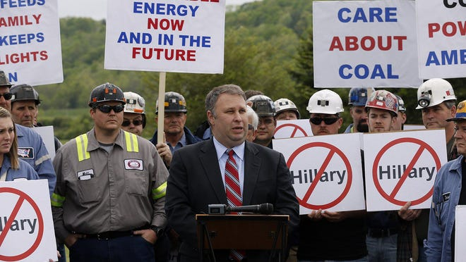 Then-Ohio Republican Chairman Matt Borges was joined by coal miners from Murray Energy Corp. to protest Democratic presidential candidate Hillary Clinton's stance on coal issues as she campaigned in Athens, Ohio, in 2016. Borges is among those indicted with former House Speaker Larry Householder in what federal authorities say is a racketeering and bribery scheme involving House Bill 6.