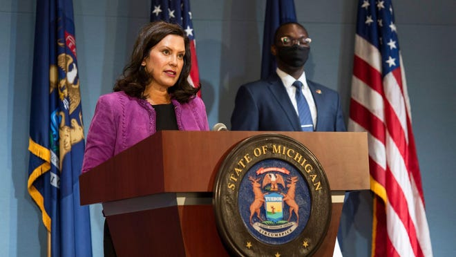 Gov. Gretchen Whitmer address the media during a news conference Wednesday, Aug. 5 in Lansing.