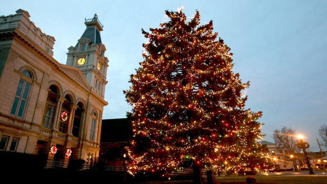 Monroe's Tree Lighting, which is normally celebrated in a street festival atmosphere near the Monroe County Courthouse, will take place in virtual format this year. This photo from 2011 shows how the tree looks when lit.