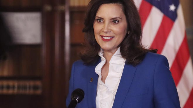 In a photo provided by the Michigan Office of the Governor, Gov. Gretchen Whitmer delivers her virtual State of the State address the state, Wednesday, Jan. 27, 2021 in Lansing, Mich.