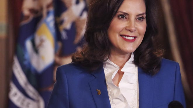 Gov. Gretchen Whitmer delivers her virtual State of the State address to the state Wednesday in Lansing.
