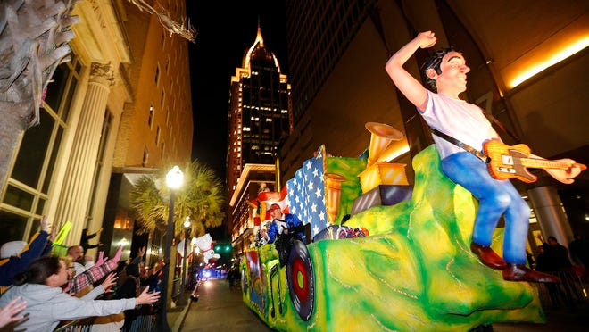 Mardi Gras celebrations along the Gulf Coast were all but a bust this year because of the coronavirus pandemic but the city of Mobile, Ala., is considering staging a Carnival-style parade through downtown in May after the state's mandatory mask rule expires.