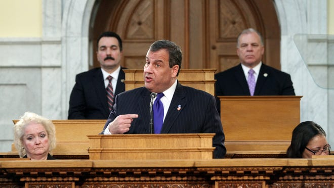 Governor Chris Christie delivers his annual budget address, Tuesday, February 24, 2015, from the Assembly Chambers at the Statehouse in Trenton.