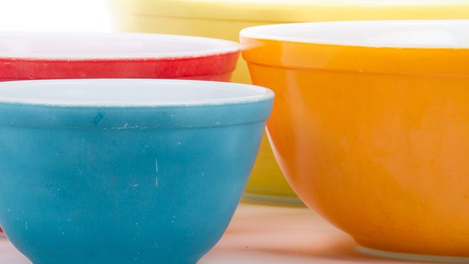 Pyrex bowls, such as these, and other Pyrex can be founded in most American kitchens. Next year marks the 100-year anniversary of the Corning-invented product.