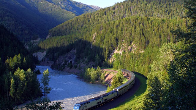 Amtrak's Empire Builder makes its way along the southern boundary of Glacier National Park near West Glacier.