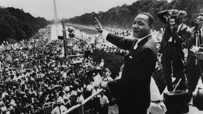 "The Rev. Martin Luther King Jr. delivered his ""I Have a Dream"" speech during the March on Washington in August 1963."