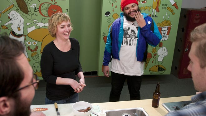 "Bluebeard head chef Abbi Merriss and host Oreo Jones laugh before filming an episode of local cooking show ""Let's Do Lunch with Oreo Jones"" at the Westgate studio on West 10th Street, Tuesday, Dec. 16, 2014."