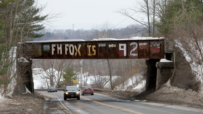 The unused 1937 railway bridge over state Route 366, east of Varna, is now updated to note that Cornell University Professor Emeritus Francis Fox turns 92 today.