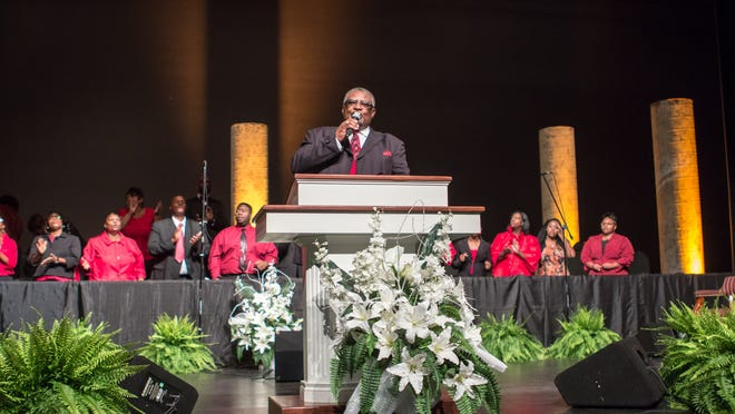 The Jurisdictional Choir sings during the Tennessee Central Ecclesiastical Jurisdiction of the Church of God in Christ 33rd annual Holy Convocation on Monday at the Carl Perkins Civic Center. The Holy Convocation continues today through Friday.