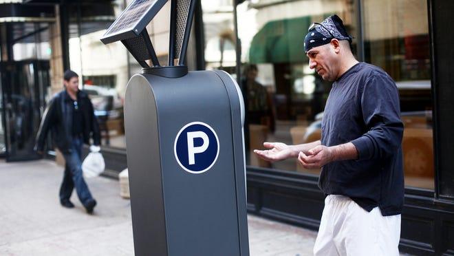 A parking meter in the 300 block of Muhammad Ali Blvd.