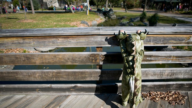 Arthur Sandberg, 2, checks out a pond from a bridge during trick-or-treat at Wildwood Zoo in Marshfield Saturday.