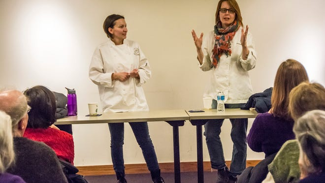 "Pastry Chefs Erica Leahy, left, of South Orange and Andrea Lekberg of Morristown share their culinary experiences at ""What's Cookin' Morris County"" event at the Morristown Library on Feb. 18."