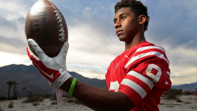Palm Springs junior defensive back Franklin Miller returned two of his six interceptions for touchdowns this season for the champion Indians. Photographed in Palm Springs, Calif. on December 10, 2014.