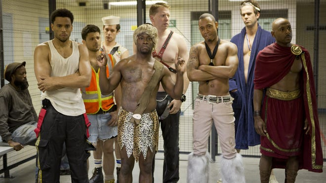 Their antics at The Hustler Club land Dominic (Michael Ealy), Jeremy (Jerry Ferrara), Isaac (Adrian Brody), Cedric (Kevin Hart), Bennett (Gary Owen), Michael (Terrence J), Terrell (David Walton) and Zeke (Romany Malco) in trouble in the film 'Think Like A Man Too.' Credit: Sony Pictures.