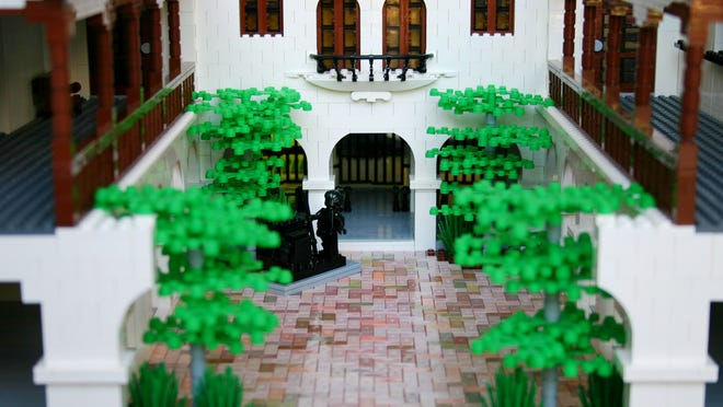 Valley LEGO brick builder Dave Shaddix created his sculpture of the Heard Museum's original 1929 edifice and courtyard, done in the same Spanish Colonial Revival architectural style. Part of the exhibit 'BUILD! Toy Brick Art at The Heard.' Credit: Caesar Chaves/Heard Museum.