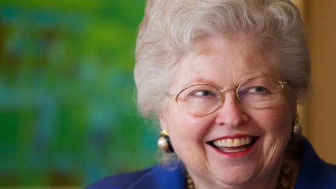 Sarah Weddington speaks with guests at a VIP reception Tuesday before the Planned Parenthood luncheon at the Joseph A. Floreano Rochester Riverside Convention Center.