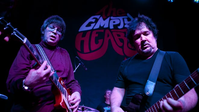 Elliot Easton, left, and Wally Palmar of The Empty Hearts perform last month during their tour kickoff at Sticky Lips in Henrietta.