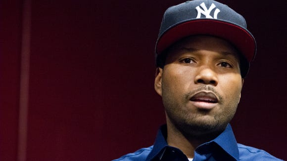 After his court appearance Thursday, Mendeecees Harris speaks to youths at the Boys and Girls Club on Genesee Street about how to stay on the right path.