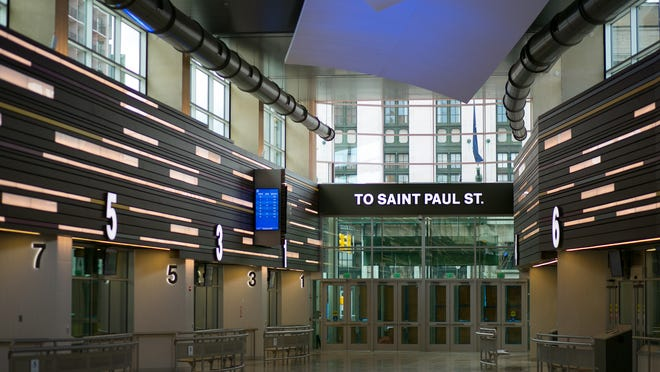 The St. Paul Street entrance to the RTS Transit Center.