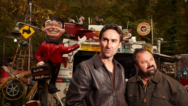 "Mike Wolfe, left, and Frank Fritz are the stars of the History Channel's ""American Pickers."""