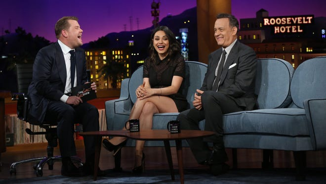 """James Corden interviews Mila Kunis and Tom Hanks on his """"Late Late Show"""" debut."""