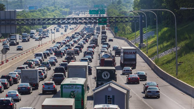 Traffic backs up from the I-495 closure.