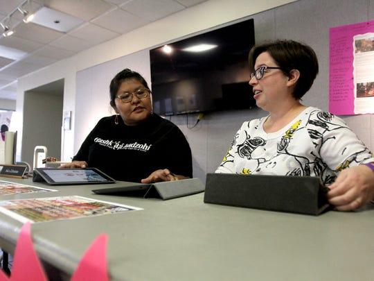 From left, San Juan College librarians Danielle Burbank