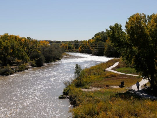 Thje Animas River flows though Riverside Park on Tuesday in Aztec.