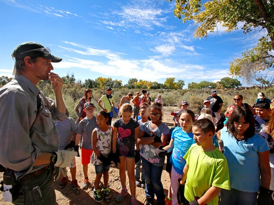 National Park Service Ranger Steve Matt talks with
