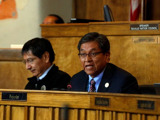 Navajo Nation President Russell Begaye, shown here giving his State of the Nation address on Monday at the Council Chambers in Window Rock, Ariz., will be presented a bill that calls for securing a loan to purchase three new tribal aircraft.