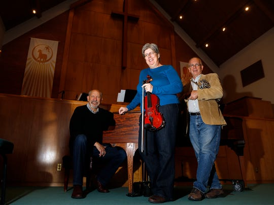 The Rev. Glenn Perica, left, Cathy Pope and Mick Hesse are the organizers of the new 'Showcase on Dustin' concert series at the First Presbyterian Church in Farmington.