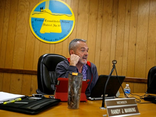 Central Consolidated School District board member Randy Manning speaks on Thursday during a work session at the district's board room in Shiprock.