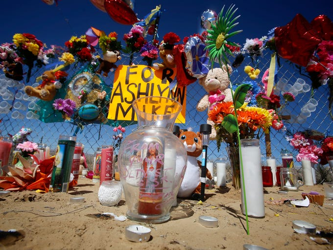 A makeshift memorial for Ashlynne Mike is seen, Wednesday,