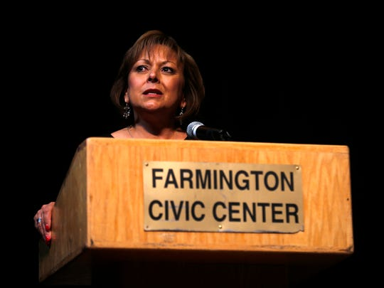New Mexico Gov. Susana Martinez speaks during the funeral service for Ashlynne Mike, 11, at the Farmington Civic Center on Friday, May 6, 2016, in Farmington, N.M.  Mike was a budding musician and talented artist, a girl whose death at the hands of a man who authorities say lured her into his van spread grief far beyond her home on the Navajo Nation. More than 3,000 people turned out for her funeral.
