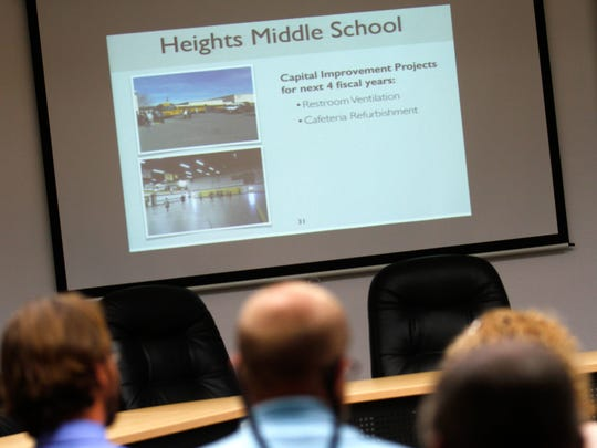 Parents and school officials listen to a presentation Wednesday during a meeting about a proposed update to the Farmington Municipal School District's facilitt master plan.