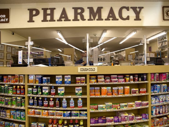 The pharmacy at Kare Drugs is pictured on Monday in Bloomfield.
