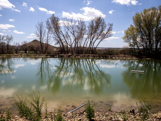 A pond is pictured Wednesday in the Harvest Gold subdivision east of Bloomfield.