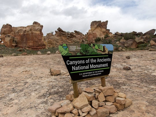 A sign marks the entrance to Canyons of the Ancients National Monument in Cortez,Colo.